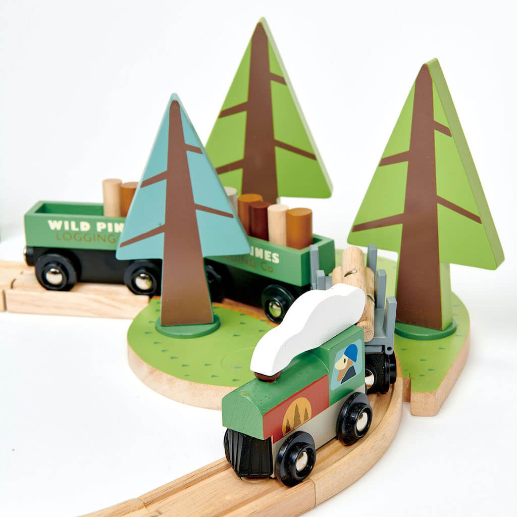 Close up the Tender Leaf Toys Wild Pines Train Set