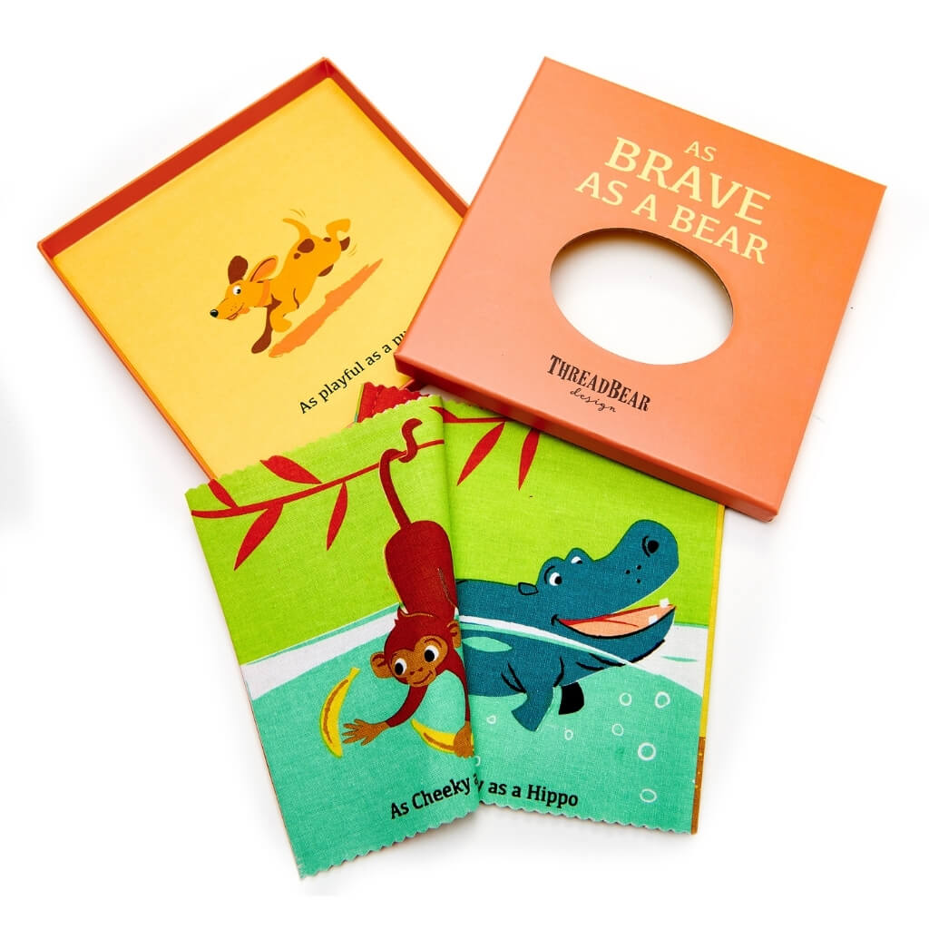 ThreadBear Design As Brave as a Bear Rag Book opened
