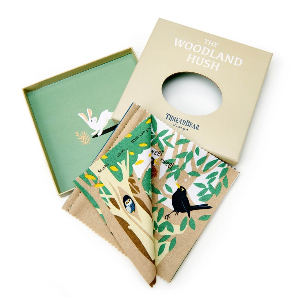 ThreadBear Design The Woodland Hush Rag Book opened