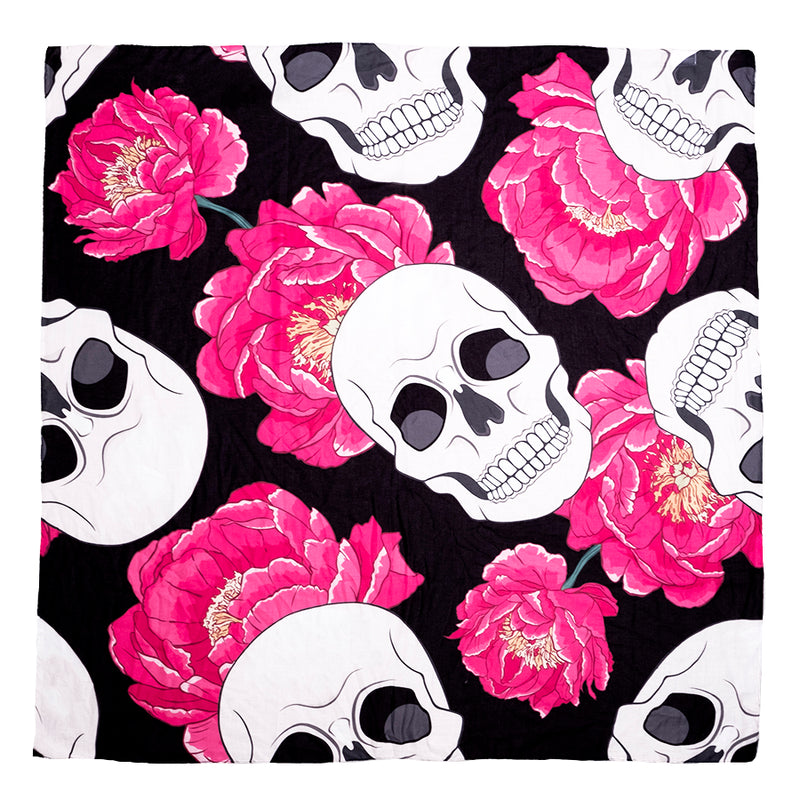 Foulard Doodle Flowers and Skulls - DOFO007