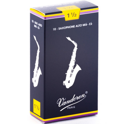 Vandoren Traditional Alto Saxophone Reeds Box of 10 (SR2115) - Strength 1 1/2