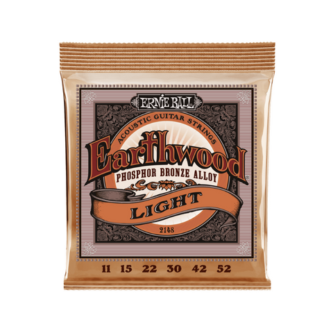 ERNIE BALL EARTHWOOD LIGHT PHOSPHOR BRONZE ACOUSTIC GUITAR STRINGS - 11-52 GAUGE