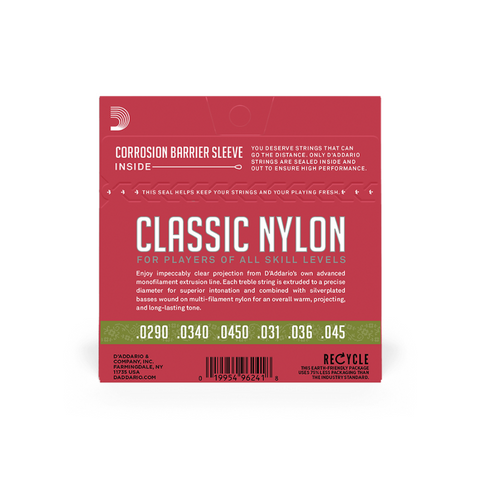 D'addario Classic Nylon SilverPlated Wound Clear Nylon - Classical Guitar 1/2 size Normal Tension