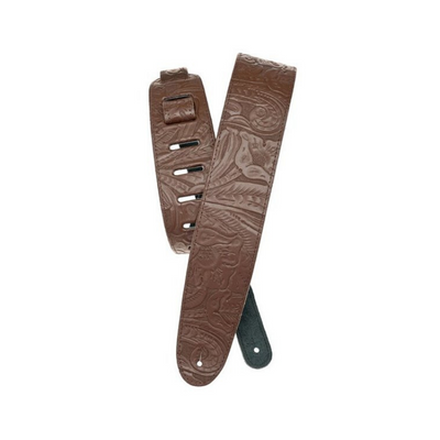 Planet Waves Embossed Leather Guitar Strap, Brown - 25LE01
