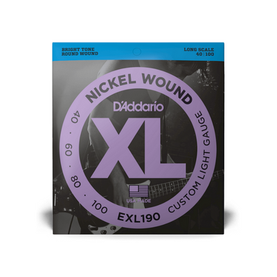 D'Addario 40-100 Custom Light / Long Scale Set EXL190 - Bass Strings