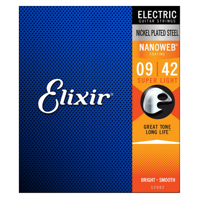 Elixir Nickel Plated Steel 12002 Electric Guitar Strings, NANOWEB, Super Light, 9-42
