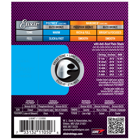 Elixir Strings 11050 Polyweb 80/20 Bronze Light Acoustic Guitar Strings 12/53