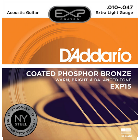 D'Addario EXP15 Coated Phosphor Bronze Acoustic Guitar Extra Light 10-47