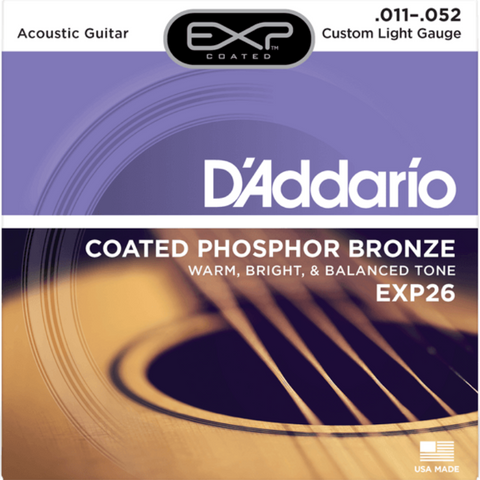 D'addario EXP26 Coated Custom Light Acoustic String 11-52