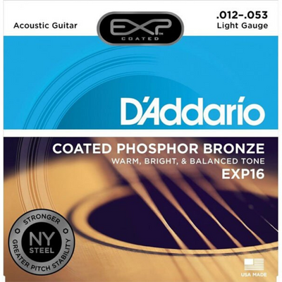 D'Addario EXP16 Coated Phosphor Bronze Light Acoustic Strings 12/53