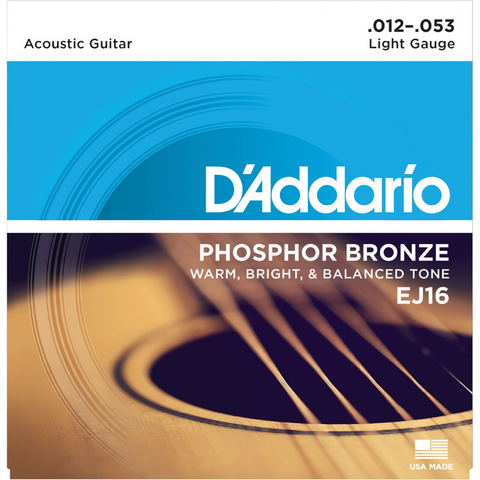 D'Addario EJ16 Phosphor Bronze Light Acoustic Guitar Strings 12/53