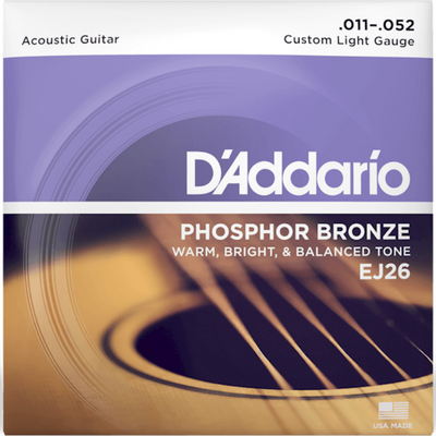 D'Addario EJ26 Phosphor Bronze Acoustic Guitar Strings Custom Light 11/52