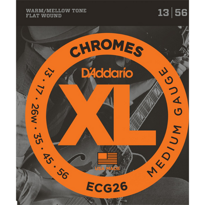 D'Addario XL Chromes ECG26 Flat Wound Electric Guitar Strings, Medium, 13-56