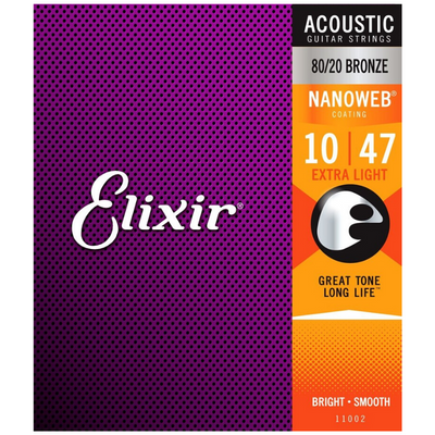 Elixir Nanoweb Coating 80/20 Bronze Acoustic Guitar Strings - Extra Light 10/47