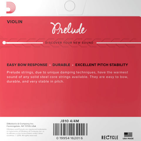D'Addario Prelude Violin SET J810 4/4 Solid Steel Core Medium Tension