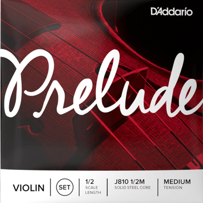 D'Addario Prelude Violin String Set, 1/2 Scale, J810 1/2  Solid Steel Core Medium Tension