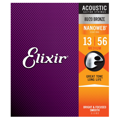Elixir 80/20 Bronze 11102 Acoustic Guitar Strings, NANOWEB, Medium, 13-56
