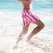 swim shorts in pink and white stripes