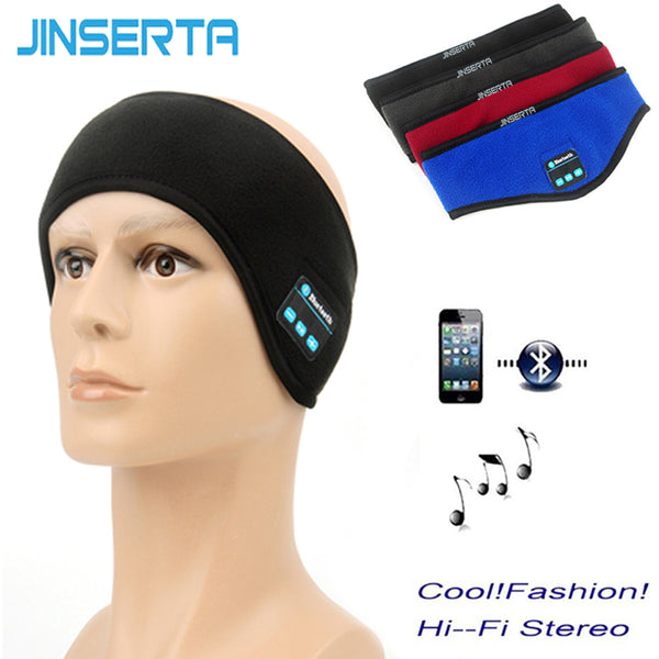 JINSERTA Sport Earphone Wireless Bluetooth Music Running Headband Headphones Sleeping Mask Hands-free Built-in Speakders and Mic