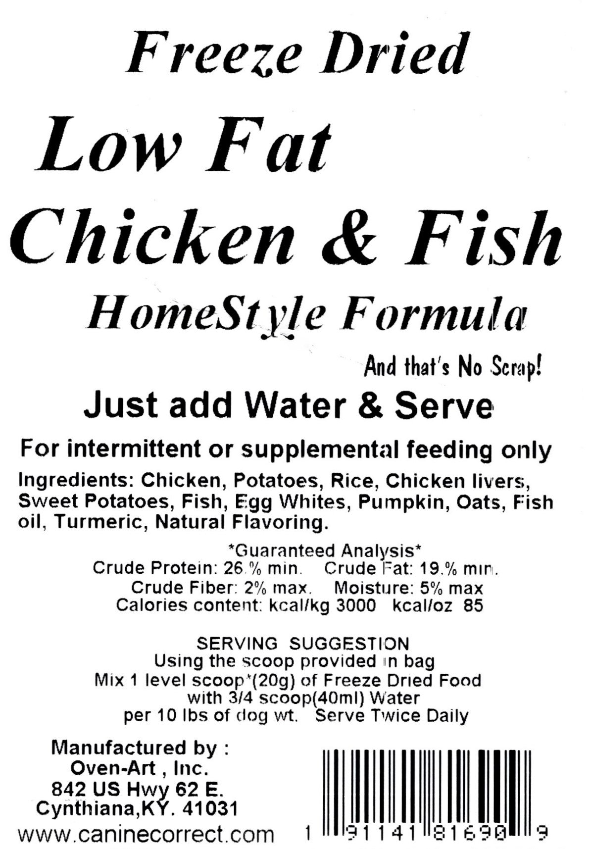 Canine Correct Low Fat Chicken & Fish Home-Style Formula