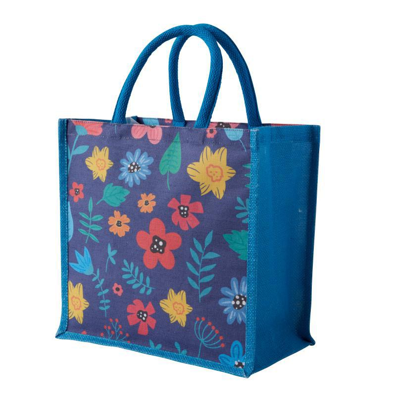 Abstract Floral Jute Bag