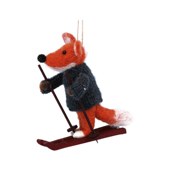 Wool Mix Fox on Skis Decoration
