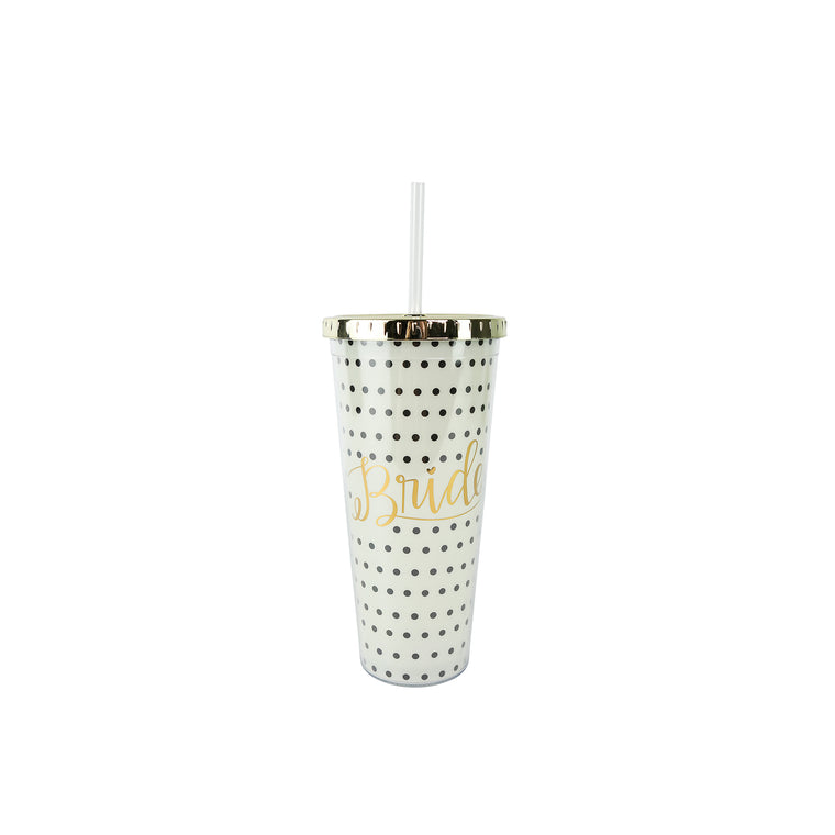 Straw Tumbler Gold Lid Bride Polka-Dot