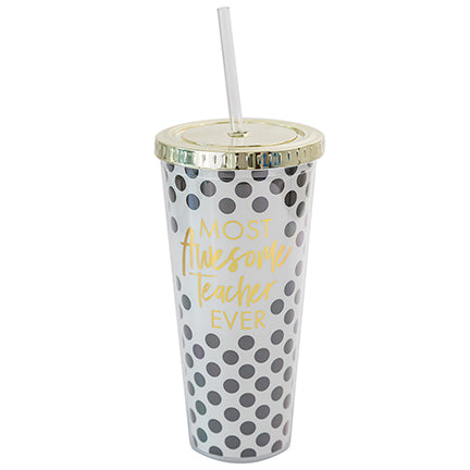 Straw Tumbler Awesome Teacher Polka Dot