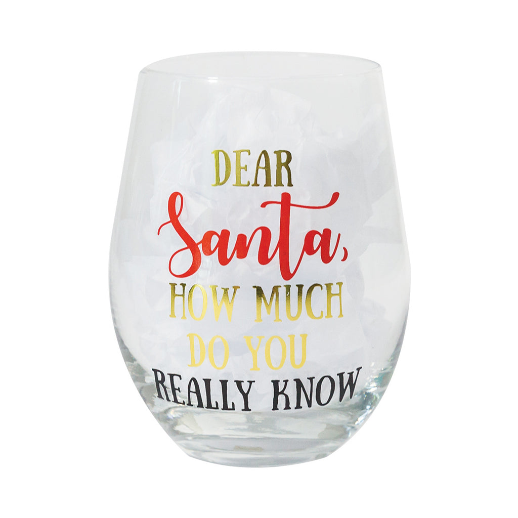 Glass Stemless Wine Dear Santa
