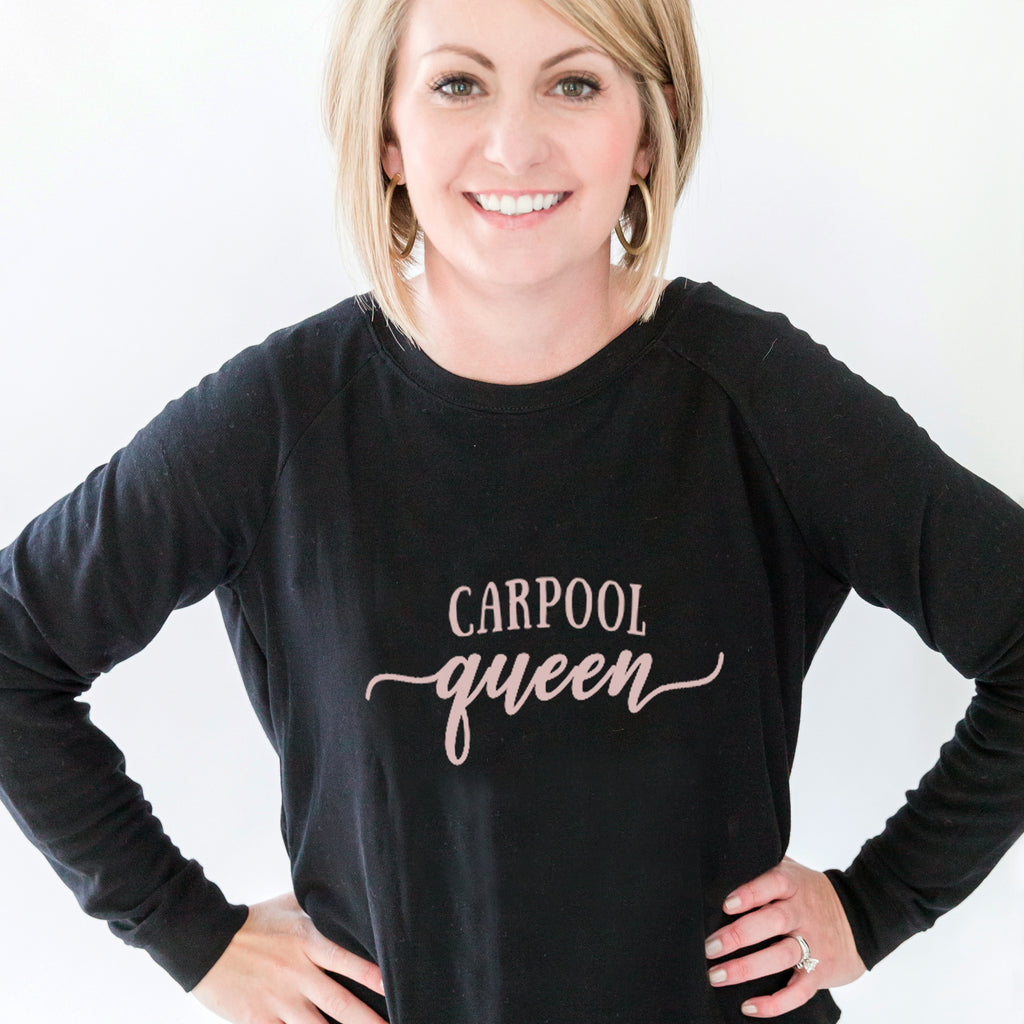 Sweatshirt | Carpool Queen | Black/Pink