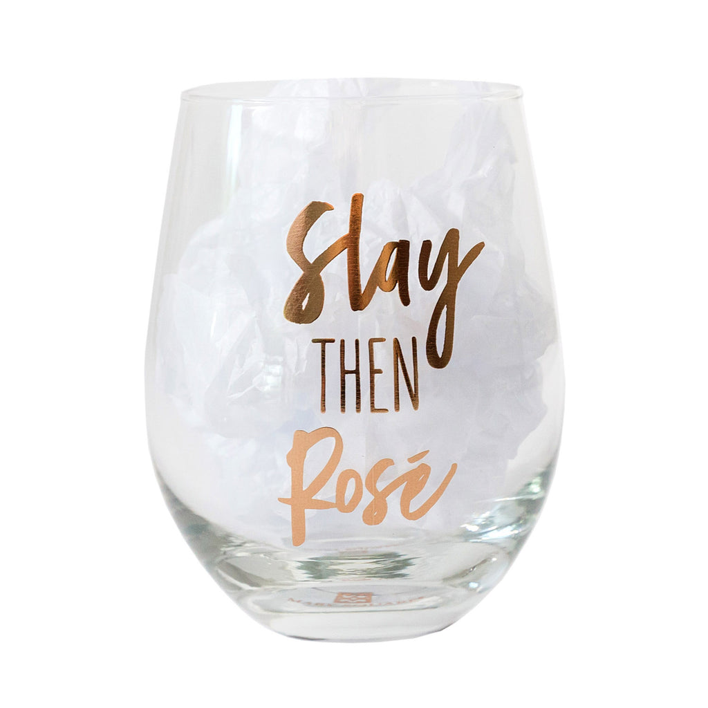 Glass Stemless Wine Slay Then Rose