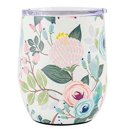 Stainless Drink Tumbler Peach Floral