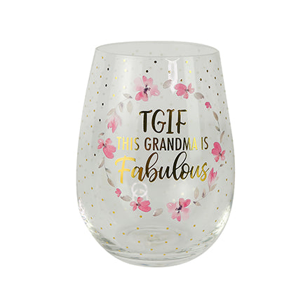 Glass Stemless Wine TGIF