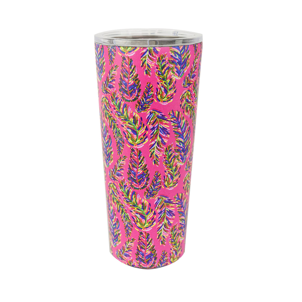 Resort Collection | Stainless Large Tumbler | Pink Frond