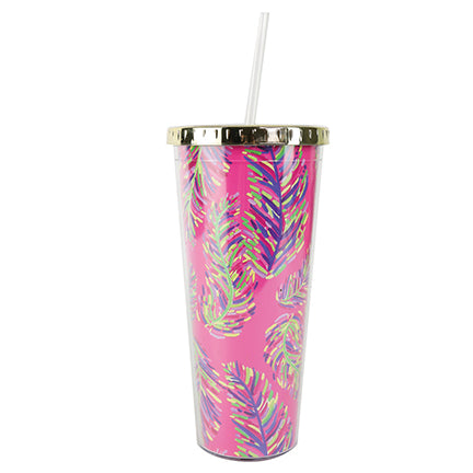 Resort Collection | Straw Tumbler | Pink Frond