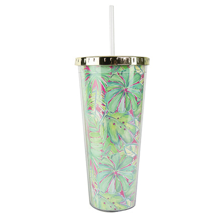 Resort Collection | Straw Tumbler | Green Palm