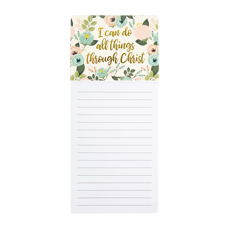 Magnetic Notepad Peach Floral