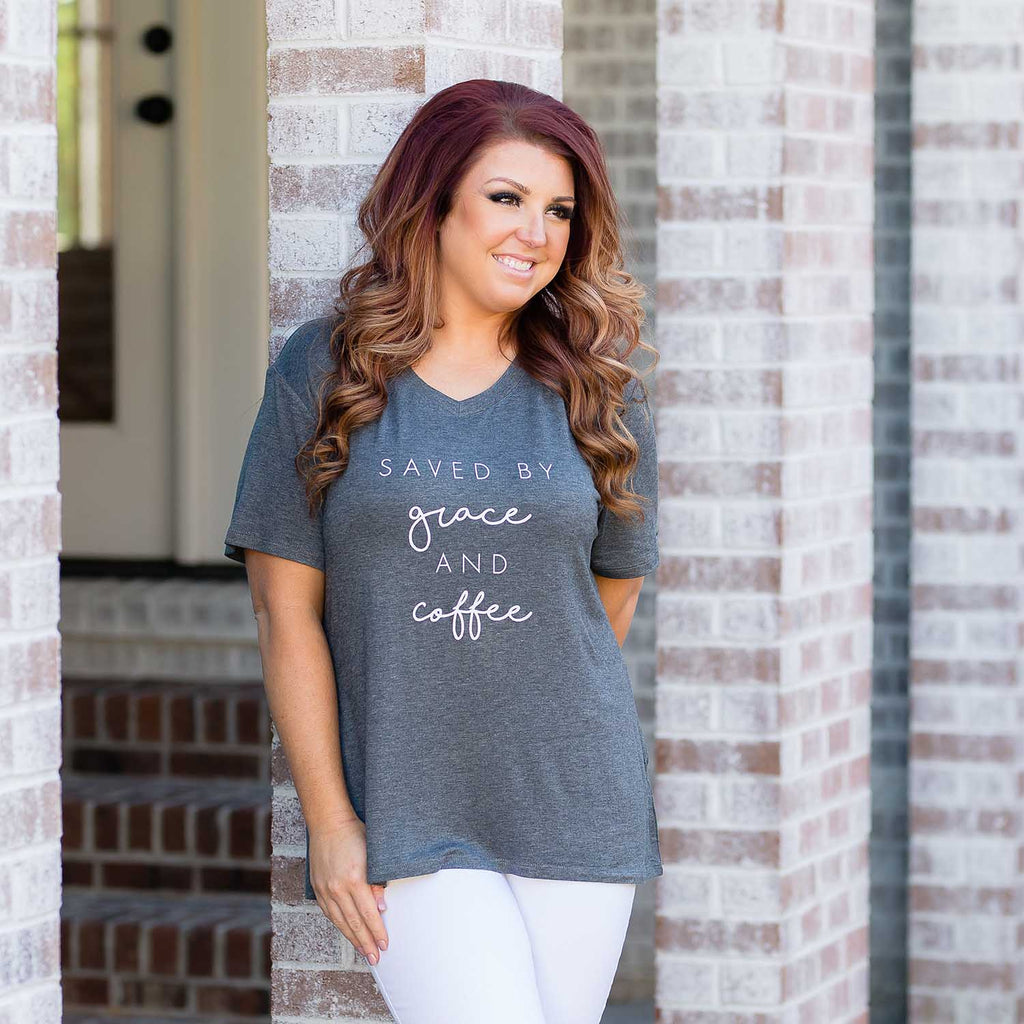 Charcoal | V-Neck T-Shirt | Saved By Grace