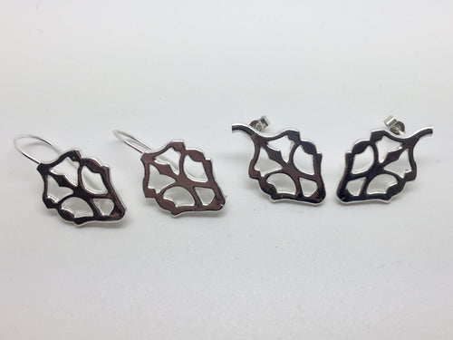 Contemporary sterling silver acorn studs and dangles large