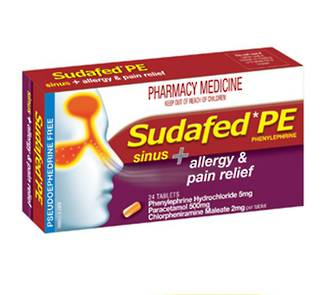 SUDAFED® PE Sinus + Allergy & Pain Relief 24 Tablets
