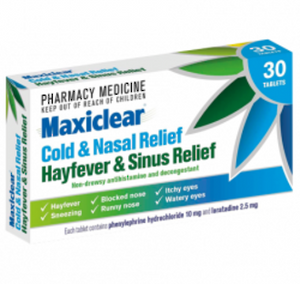 Maxiclear Cold & Nasal Relief Hayfever & Sinus Relief 30 TAB