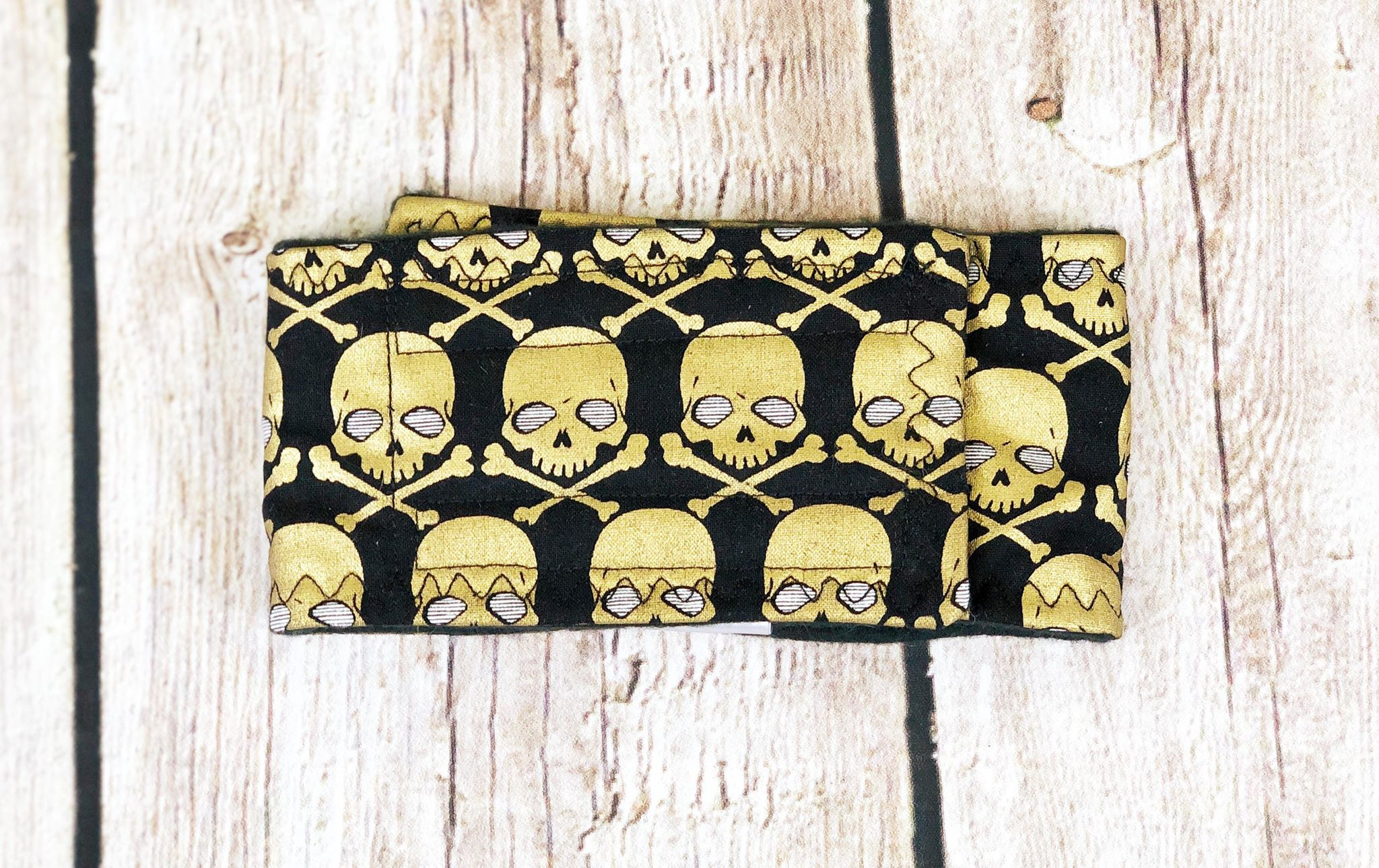 Dog Belly Band Diaper Metallic Gold Skulls Marking Incontinence  Washable Reusable Waterproof Wrap Extra wide