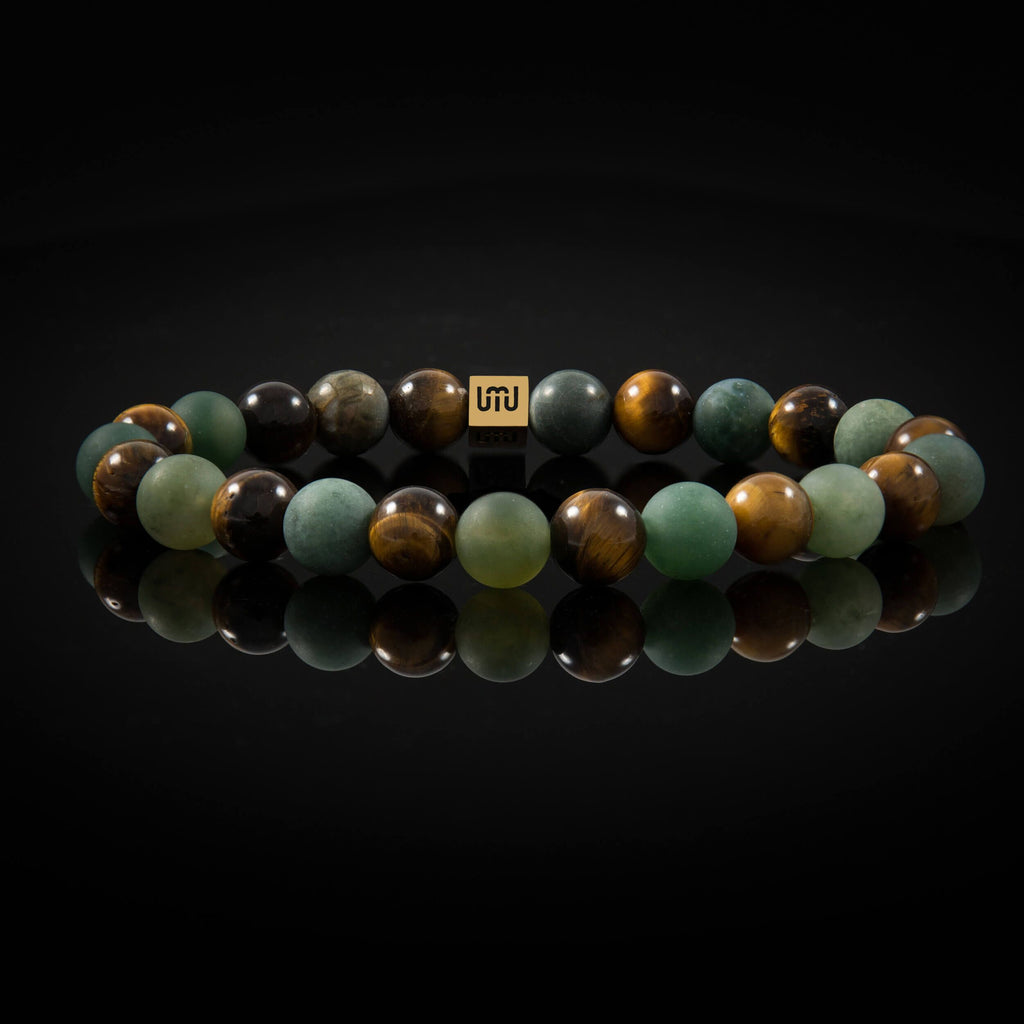 Agate & Tiger's eye Men's bracelet - Gold-Adrian Jade