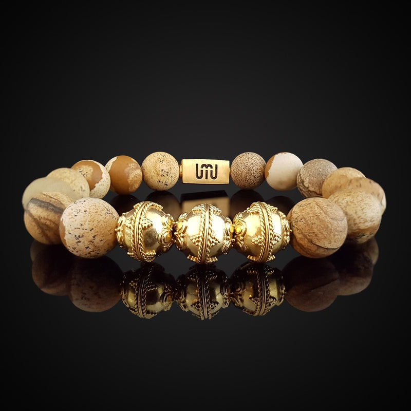 Agate & Tiger's eye Men's bracelet - Gold