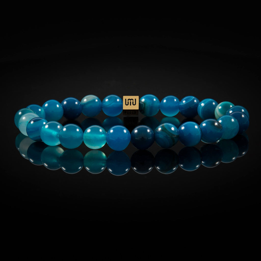 Blue Strip Agate & Gold Bracelet-Adrian Jade