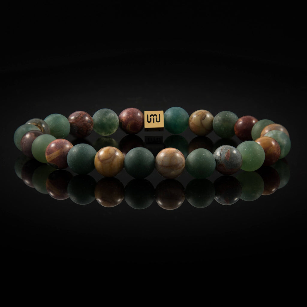 Moss Agate and Picasso Jasper - Gold Bracelet-Adrian Jade