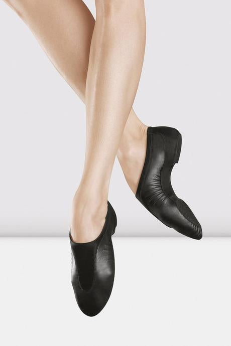 "Adult Bloch ""Pulse"" Black or Tan Leather Slip on Jazz Shoe"