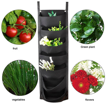 Garden Planter Wall-mounted Planting Flower Grow Bag 7 Pocket Vegetable Living Garden Home Supplies 107*30cm