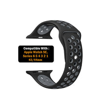 Load image into Gallery viewer, Dotted Silicone Strap for iWatch 42-44mm Black Grey