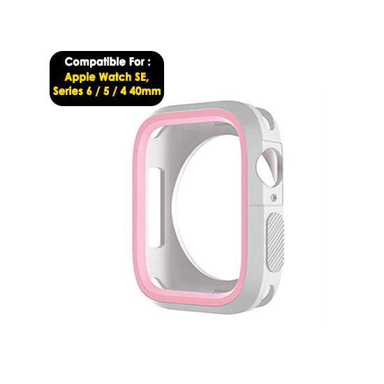Armour Protective Bumper Case Cover for Apple Watch SE 40mm ,Series 6/5/4-White & Pink